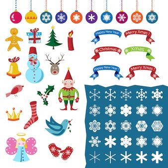 Big set of christmas decorations, characters, snowflakes and symbols. part one. eps 10 vector illustration, no transparency