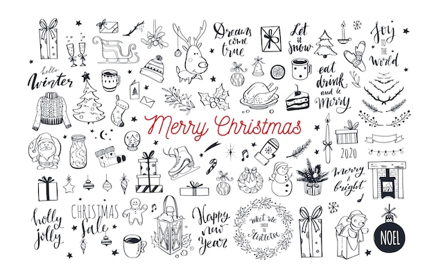Big set of christmas design doodle elements.