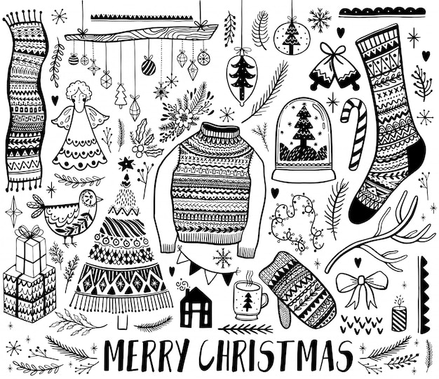 Big set of christmas  element in doodle style. hand draw collection new year. decorative drawing.