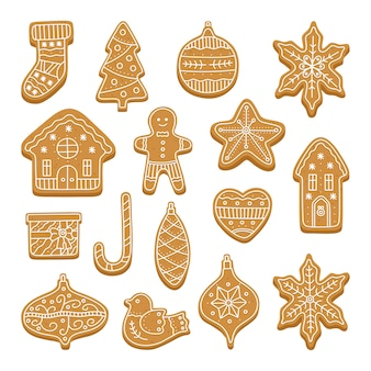 Big set of christmas gingerbread cookies.