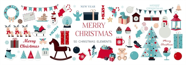 Big set of christmas icons and elements for decorating cards ads banners flyers and invitations