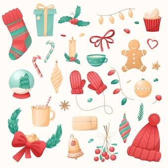 Big set of christmas isolated icons on a white background. winter holiday symbols. new year decoration