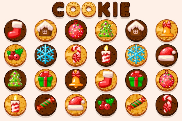 Big set christmas and new year cookies, holiday symbols icons.
