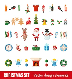 Big set of christmas and new year icons in flat style isolated on white background. vector illustration. traditional christmas symbols.