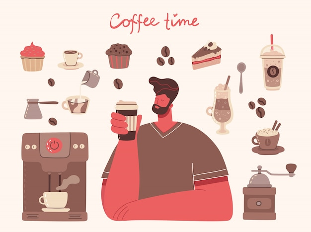 Big set of coffee maker, cup, glass, coffee grinder around the man with cup of coffee art style on background.