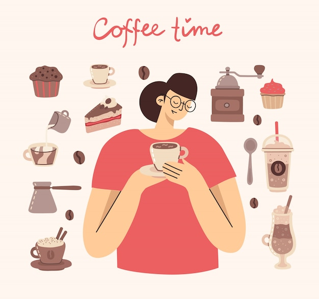 Big set of coffee maker, cup, glass, coffee grinder around the woman with cup of coffee art style on background.