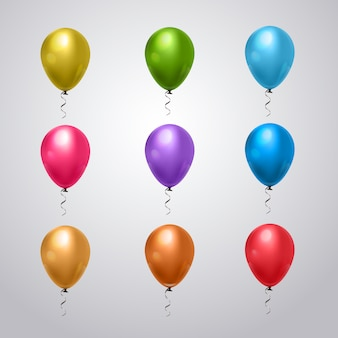 Big set of colorful balloons with ribbon