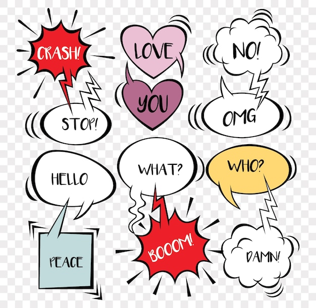 Big set of comic speech bubbles and element