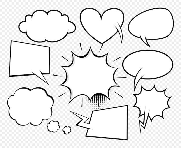 하프톤 도트 배경 스타일 팝 아트가 있는 큰 세트 만화 연설 거품