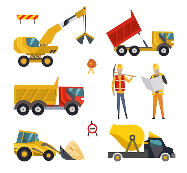 Big set of construction equipment machinery. special machines for the construction work