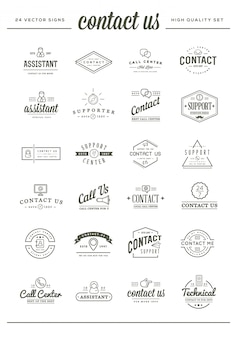 Big set of contact us sign elements