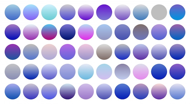 Big set of cool blue and purple gradients