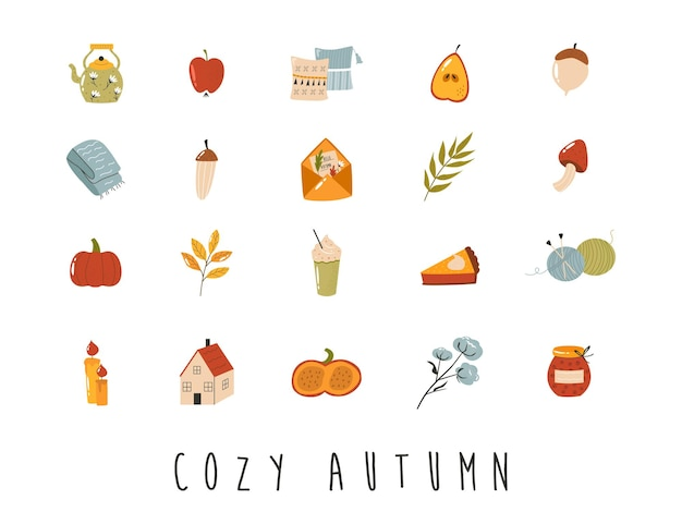 Big set of cozy autumn icons in flat style. hygge vector collection on white background