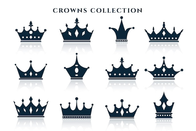 Big set of crowns in different styles