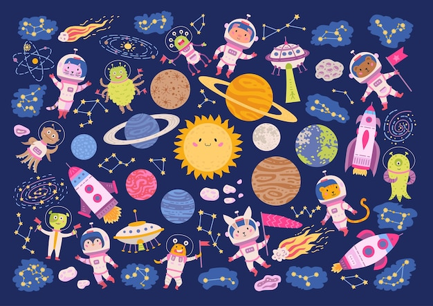 Big set of cute animal astronauts in space.