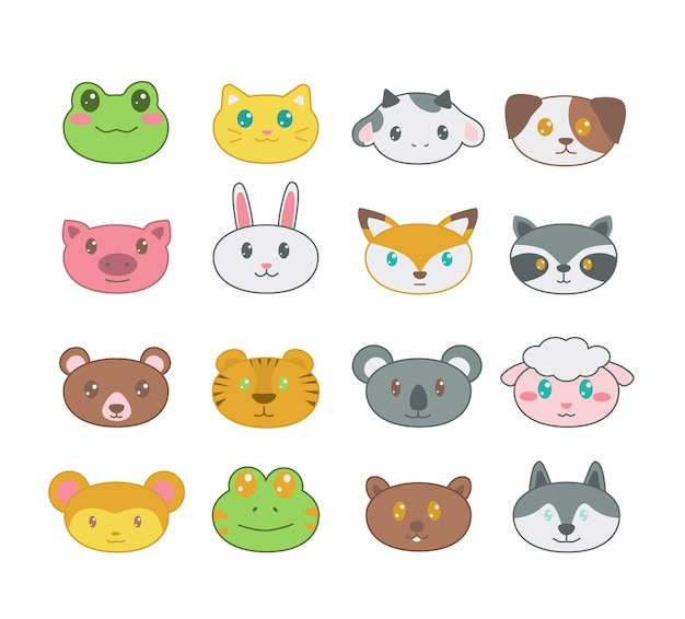 Big set of cute animal stickers icons for avatar web design print