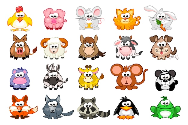Big set cute cartoon animals
