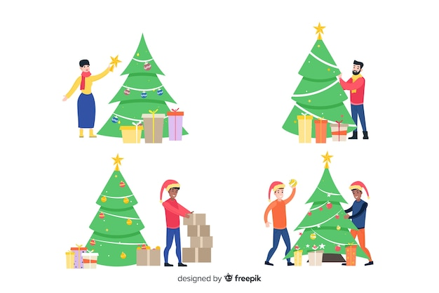 Big set of cute cartoon people decorating the christmas tree