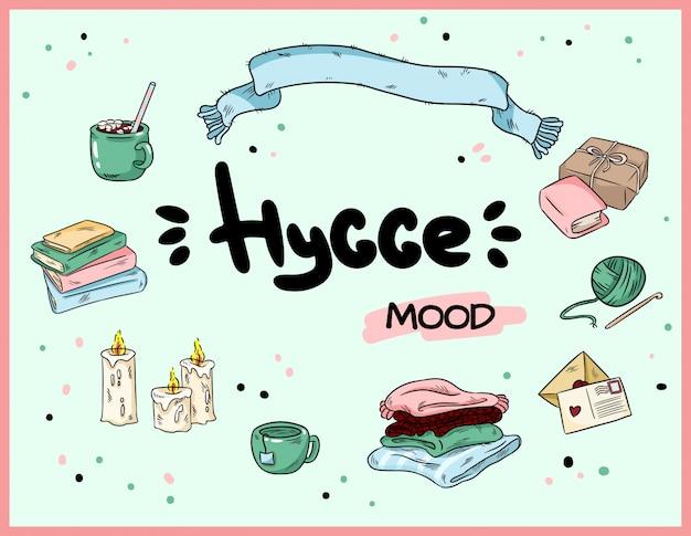 Big set of cute hygge sticker doodles.