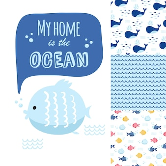 Big set of cute marine elements for cards and stickers. sea cartoon patterns. for anniversary, birthday, party invitations, scrapbooking, t-shirt, cards. vector illustration