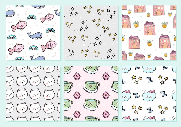 Big set of cute seamless pattern cat collection background