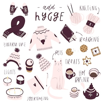 Big set of cute vector illustration hygge elements autumn and winter mood