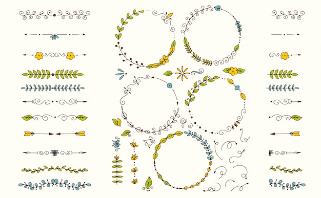 Big set of decorative hand drawn elements