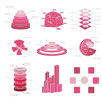 Big set of diagram elements with isolated several shades of red and different types charts
