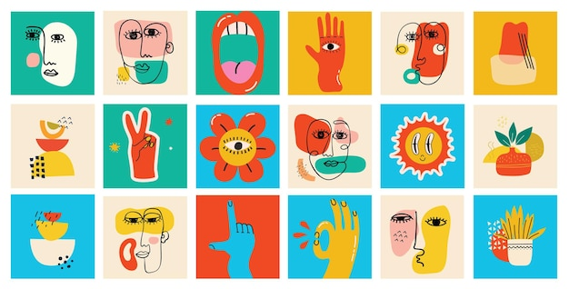 Big set of different colored vector illustartion posters in cartoon flat design. hand drawn abstract shapes, funny cute comic characters.