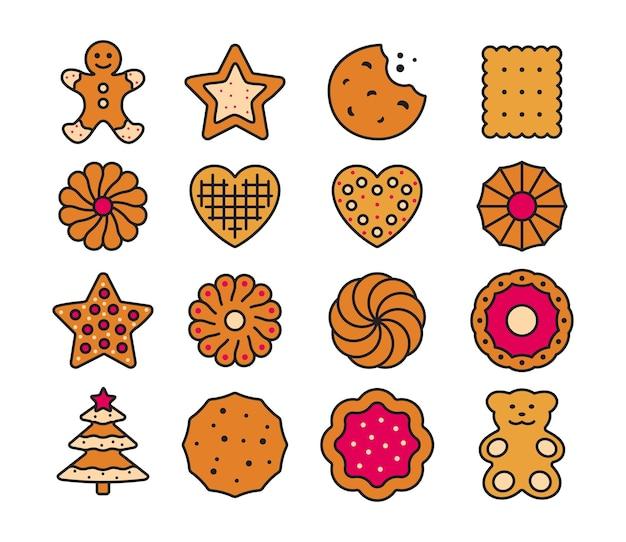 大きなセットの異なるクッキー。ペストリーの甘いビスケット。ベクトルイラスト。