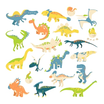 Big set of different dinosaurs