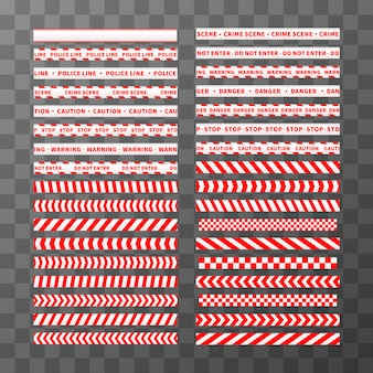 Big set of different seamless red and white caution tapes