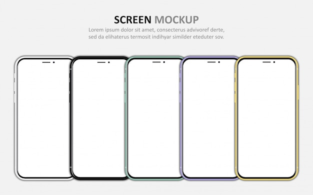 Big set of different smartphone with blank screen.