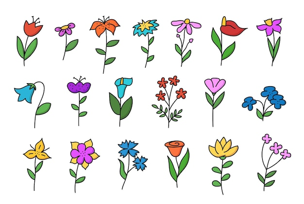 Big set of doodle flowers. tulip, chamomile, lily, cornflower and others hand drawn in color. vector illustration isolated on white background.