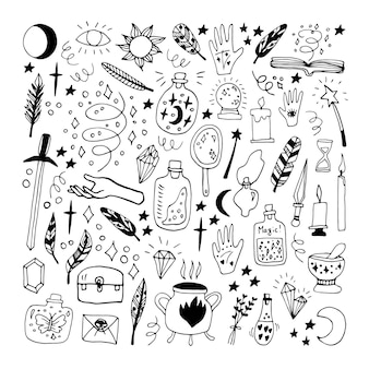 Big set doodle vector elements about esotericist. hand drawn jars, feathers, hands, cauldron, sun, moon, candles, stars and other magical symbols. isolated on white backdrop.