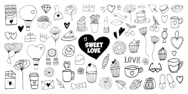 발렌타인 데이 카드, 포스터, 포장 및 디자인을 위한 큰 세트 두들 벡터 요소입니다. 손으로 그린 심장, 흰색 배경에 고립. 기하학적 모양과 기호입니다.