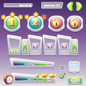 Big set of elements for computer games and web design
