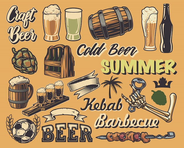 Big set of elements for the design of vintage posters, logos (beer, cafe). all items are in separate groups.