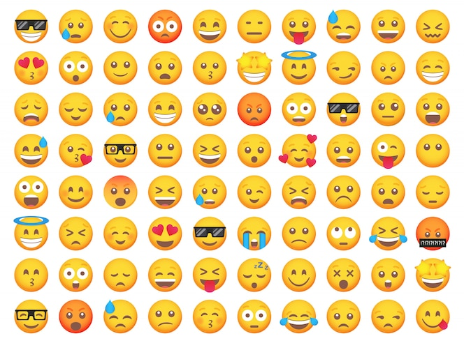 Big set of emoticon smile icons. cartoon emoji set.   emoticon set