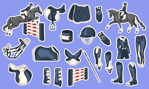 Big set of equipment for the rider and ammunition for the horse rider on horse illustration in cartoon style. saddle, blanket, whip, clothing, saddle cloth, protection.