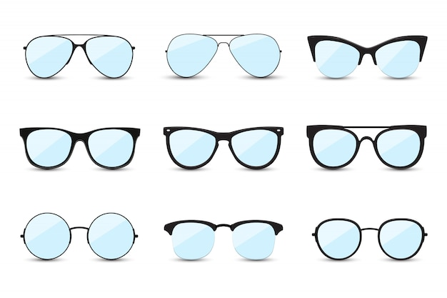 Big set of fashionable blue sunglasses.