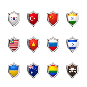 Big set of flags of sovereign states projected as a glossy shield on a white background