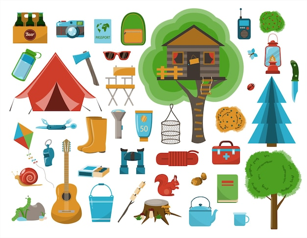 A big set of flat icons for camping vector cartoon illustration equipment for hiking cliparts