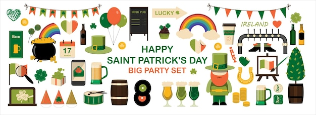 Big set of flat icons for saint patrick s day  vector cliparts