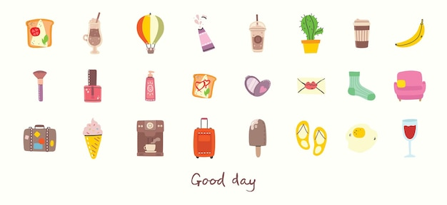 Big set of food, travel and summer holiday related objects and icons. for use on poster, banner, card and pattern collages. modern vector flat style illustration