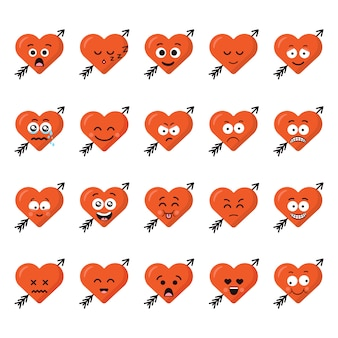 Big set funny cartoon heart character emotions set