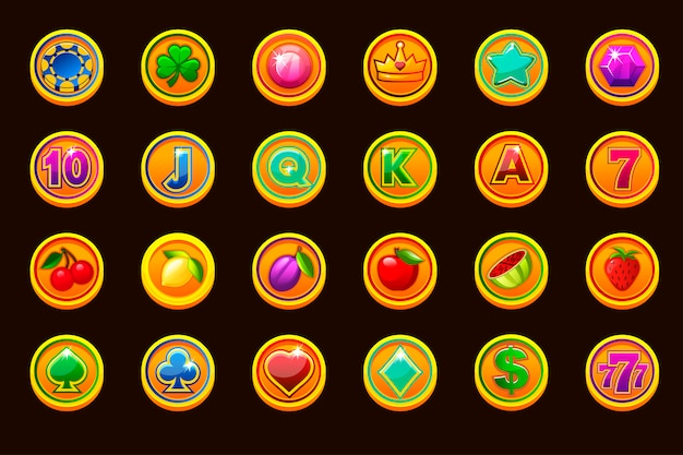 Big set gaming icons on golden coins for slot machines or casino. game casino, slot, ui.