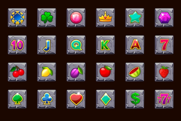Big set gaming icons for slot machines or casino on stone square. game casino, slot, ui.