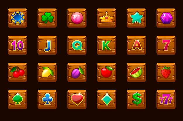Big set gaming icons for slot machines or casino on wooden square. game casino, slot, ui.