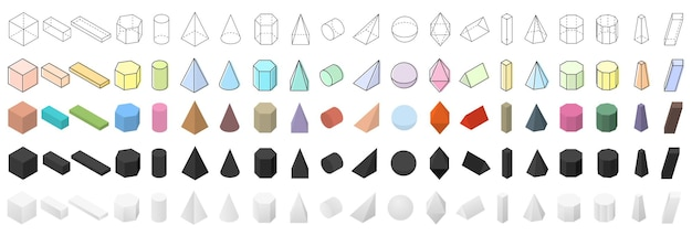 Big set of geometric shapes. isometric 3d view. flat, linear and realistic colored shapes. objects for school, geometry and math. vector illustration.